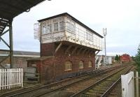 The signal box at Arbroath North on 11 October 2017, looking back from Wellgate level crossing towards the station. <br><br>[Andy Furnevel&nbsp;11/10/2017]
