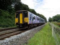 A Northern service to Colne descends Hoghton bank heading to the next stop at Pleasington.<br><br>[John McIntyre&nbsp;14/07/2007]