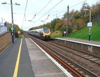 Platform view north at Musselburgh on 14 October 2017, with the 1708 Edinburgh - Birmingham New Street CrossCountry service about to run through the station.<br><br>[Andy Furnevel&nbsp;14/10/2017]