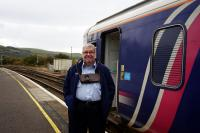 The friendly and chatty driver of the 12.01hrs to Stranraer makes sure he has the tablet for the Girvan to Barrhill section. A great ambassador for Scotrail! 12th October 2017. <br> <br> <br><br>[Colin Miller&nbsp;12/10/2017]