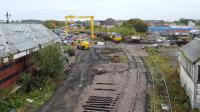 Elgin works - points and track back in and access to mainline now has a signal.  Elgin Centre box is B listed which is why it has not be demolished. The old GNSR station is also listed.<br><br>[Crinan Dunbar&nbsp;20/10/2017]