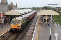 Swanage Railway service in the main line platform at Wareham with D6515 and 37518 waiting to return to Swanage on 30th August 2017.<br> <br><br>[Douglas McPherson&nbsp;30/08/2017]