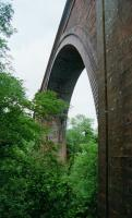 A view of the impressive arch of the Ballochmyle Viaduct. This was taken on the west side looking north in 2002.<br><br>[Ewan Crawford&nbsp;//2002]