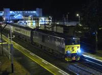 73971 calls at Dalmuir with the ex-Fort William sleeper on 8th October 2017.  Note the first vehicle, M9526, in blue and grey livery.<br> <br><br>[Bill Roberton&nbsp;08/10/2017]