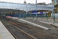 The tracks to platforms 5 and 6 at Waverley have been disconnected and lifted.  158729 waits at platform 3 with the 17.12 to Tweedbank on 15th October 2017.<br> <br> <br><br>[Bill Roberton&nbsp;15/10/2017]