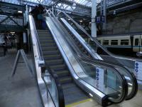 Back in 2013 these were the new escalators linking Platform 11 with the footbridge at Edinburgh Waverley.<br><br>[John Yellowlees&nbsp;29/12/2013]
