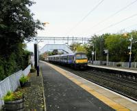 A Class 320 from Dalmuir makes its first stop at Clydebank on the morning of Saturday 14th October 2017. Engineering works mean that it will be terminating at Kirkwood instead of Whifflet.<br> <br> <br><br>[David Panton&nbsp;14/10/2017]