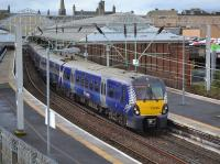 334004 leaves Helensburgh Central with the 10.56 to Edinburgh on 9th October 2017.<br> <br> <br><br>[Bill Roberton&nbsp;09/10/2017]