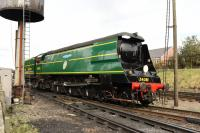 Battle of Britain 4-6-2 34081 <I>92 Squadron,</I> seen at Loughborough Central during the GCR <I>End of Southern Steam 50th</I> on Gala 6th October 2017. <br> <br> <br><br>[Peter Todd&nbsp;06/10/2017]