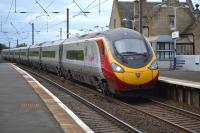 The 08.43 Pendolino from Euston to Edinburgh passes through Kirknewton on 9th October 2017.<br> <br><br>[Bill Roberton&nbsp;09/10/2017]