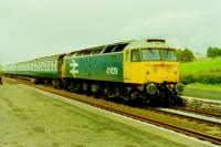 Class 47 47629, seen passing Langwathby on a southbound special excursion in 1988. The following year the former D1966 became 47828 and a long career continued. It was finally withdrawn by Direct Rail Services in 2016 and has moved into preservation with the D05 Group on the Dartmoor Railway. <br><br>[Gordon Steel&nbsp;04/06/1988]