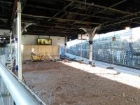 The concourse and cafe at Dundee station are temporarily gone, and this area is open to the air for the first time in decades. Photographed  25 October.<br><br>[David Panton&nbsp;25/10/2017]