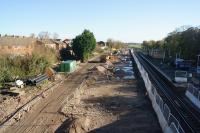 Looking east from the road bridge at Kirkham and Wesham on 27 October 2017. The former fast lines have gone and work is progressing to create a third platform linked to the existing island platform by footbridge with lifts to provide step free access. For a similar view before this work started [see image 22043] <br><br>[John McIntyre&nbsp;27/10/2017]