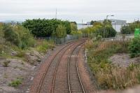 View looking to Grangemouth docks. A far cry from yesteryear, the line is (well, two single track lines are) now gated at this point.<br><br>[Ewan Crawford&nbsp;08/10/2017]