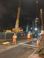 The sections of the temporary Baillieston pedestrian and services bridge together with its north supporting tower have arrived at the site and are waiting for OHLE isolation and the start of the possession before lifting commences.<br><br>[Colin McDonald&nbsp;29/10/2017]