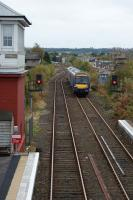A Class 170 DMU heading to Inverness arrives at Dyce on 19 October 2012.<br><br>[John McIntyre&nbsp;19/10/2012]