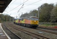 Colas certainly have a diverse fleet, illustrated by 56105, 60095 and 70804 taking the Up Fast line through Lancaster on 20th October 2017. This was a light engine(s) working from Carlisle to Crewe. <br><br>[Mark Bartlett&nbsp;20/10/2017]