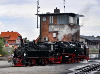 HSB 99 5901 and 99 7232-4 at Wernigerode on 19 September 2017.  Locomotive 99 5901 was built in 1897, as the first locomotive for the Nordhausen-Wernigerode-Eisenbahn and is the oldest narrow-gauge (1000 mm) steam engine still operating in the Harz region.  The Mallet design was particularly suitable for the tight curves (as little as 60 metres radius) on the Harz lines.  Taken out of service in 1989 when the rolling stock was converted to air-braking, it was subsequently fitted with air brakes and re-entered service in 1992, being used for special trains rather than regular services.<br><br>[Norman Glen&nbsp;19/09/2017]