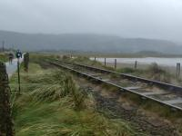 A very wet and windy morning, this is just after south end of Barmouth bridge, hard to believe this track is in use.<br><br>[Alan Cormack&nbsp;13/10/2017]