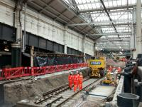 Platform 12: the continuing 'story'. A look east from Platform 11 on 1 November showing the ironwork of the south ramp exposed, and the track already advancing eastwards.<br><br>[David Panton&nbsp;01/11/2017]