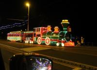 The 2017 Blackpool Illuminations final night is Sunday 5th November. A few evenings before that the <I>Western Train</I> takes another tour from Pleasure Beach to Little Bispham, seen here near Wilton Parade heading north. <br><br>[Mark Bartlett&nbsp;01/11/2017]