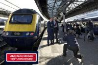 Aberdeen Station 150th anniversary; this photo shows ScotRail Alliance MD Alex Hynes with Steve Ewen, ScotRail Customer Experience Manager (Acting) for the North-East of Scotland after today's naming. (Photograph care of John Yellowlees.)<br><br>[Mike Cooper&nbsp;04/11/2017]