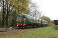 One highlight, amongst many at the East Lancs Railway <I>Scenic Railcar Gala</I>, was the debut of the resident Cravens Class 105 DMU after a 21 year restoration. The unit looked immaculate and I understand the interior is of a similarly high standard. The green power-car trailer set is seen here approaching Summerseat on 4th November 2017. [See image 21627] for a much earlier view of a Cravens at this station.<br><br>[Mark Bartlett&nbsp;04/11/2017]
