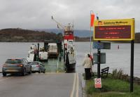 <I>MV Isle of Cumbrae</I> loads at Portavadie before making another 25 minute crossing of Loch Fyne to Tarbert in October 2017. The second oldest vessel in the Calmac fleet has been the regular summer ferry on this route for many years [See image 43413]. <br><br>[Mark Bartlett&nbsp;23/10/2017]