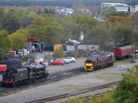View over Tom Na Faire depot in October 2017 with 45407 in light steam and 37518 in reserve.<br><br>[Bill Roberton&nbsp;20/10/2017]