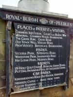 This venerable list of Peebles attractions is on the Tweed Bridge. The first-listed car park was at the CR (or 'West') station, just across the bridge. That area has long-since been built over. There's no mention of the current 'East Station car park', as it's actually called; paradoxically, there was no car park there until that station, the NB one, was history too.<br><br>[David Panton&nbsp;19/10/2017]