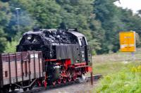 A blur of speed - HSB 99 222 approaching Wernigerode with the 15:53 train from Drei Annen Hohne on 19 September 2017!  This locomotive features on the tickets for the Wernigerode-Brocken Summit service [See image 61132] and [See image 61119] for a note on its unique, cylindrical feed-water heater.<br><br>[Norman Glen&nbsp;19/09/2017]