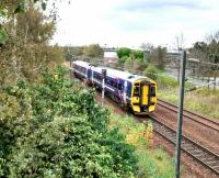 A morning service from Tweedbank approaches its penultimate stop,<br> Brunstane, on 30th October 2017. The 158 is still in First Scotrail livery, nine<br> years after the saltire one was introduced. Meanwhile signal EP (Edinburgh<br> Portobello) 604 says No, which is immensely reassuring.<br> <br><br>[David Panton&nbsp;30/10/2017]