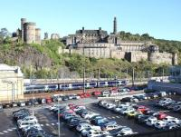 The east end of Waverley, looking north over the car park from Jeffrey Street on 5 October 2017. The 0945 ex-Glasgow Queen Street has recently arrived at platform 7.<br><br>[John Furnevel&nbsp;05/10/2017]