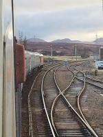 A very late Inverness bound Caledonian Sleeper at Dalwhinnie on 20/04/2017 waits for the Kings Cross bound Highland Chieftain to appear.<br><br>[Caleb Abbott&nbsp;20/04/2017]
