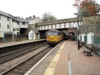 Colas 56096 passing through Colwyn station with a weedkilling train on 31st October 2017. A second 56 was at the rear.<br> <br> <br><br>[Peter Todd&nbsp;27/10/2017]