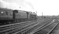 Motherwell based Black 5 44786 leaves Carlisle on 13 July 1963 with the 1M28 summer Saturday Glasgow - Manchester relief service. The train will run via Hellifield.  <br><br>[K A Gray&nbsp;13/07/1963]