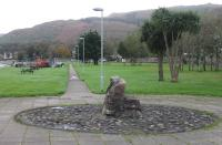This footpath, running south west alongside the shore at Campbeltown, follows the line of the old light railway. At the sixth lamp post the path swings west and follows the course of the old railway into the little glen where it climbs steeply away from sea level. 22nd October 2017. <br><br>[Mark Bartlett&nbsp;22/10/2017]