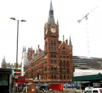 The grand old St Pancras station, well on its way to becoming St Pancras International in the summer of 2005. View is west along the Euston Road.<br><br>[John Furnevel&nbsp;31/08/2005]