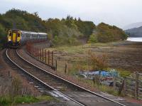 156445 and 156492 form the 08.21 from Glasgow Queen Street to Mallaig approaching Locheil Outward Bound.<br><br>[Bill Roberton&nbsp;19/10/2017]