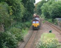 66155 on the rear of a ballast train rounding the sub at Newington on 28 August 2017 heading towards Morningside. <br><br>[John Furnevel&nbsp;27/08/2017]