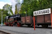 HSB 99 6001 departing Alexisbad with the 11:46 train to Gernrode on 19 September 2017.  It had just arrived with the 10:30 train from Quedlinburg.  This locomotive was built by the Krupp Corporation of Essen in 1939 and was the prototype for an entire class ordered by the Nordhausen-Wernigerode-Eisenbahn.  However, the outbreak of the Second World War meant that only this one was built.<br><br>[Norman Glen&nbsp;19/09/2017]