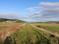 North of the bridge over the River Dulnain there is as yet only one 60ft track panel laid. This is the view looking north towards Grantown on Spey on 5th November 2017.<br> <br> <br><br>[Alan Cormack&nbsp;05/11/2017]