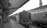 BR Standard Pacific 70000 <I>Britannia</I> stands at Carlisle on 7 September 1963 at the head of a military special.<br><br>[K A Gray&nbsp;07/09/1963]