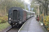 The newly restored BRC&W <I>Calder Valley Set</I>, back on the ELR after a period on the Wensleydale Railway, is seen at Summerseat taking a 6-wheel <I>Stove</I> van as a trailing load as far as Ramsbottom during the 2017 railcar gala. <br><br>[Mark Bartlett&nbsp;04/11/2017]