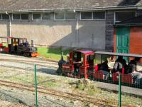 Passing trains on the 7.25 inch line at the Conwy Valley Railway Museum at Betws-Y-Coed on 28th October 2017. This excellent attraction sits adjacent to the Llandudno to Blaenau Festiniog branch line opposite the station. <br> <br><br>[Peter Todd&nbsp;28/10/2017]