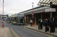 With the Blackpool line closed for electrification frequent rail replacement buses are running each day from Preston. Some buses run direct to Blackpool North and others call at the intermediate stations on both Blackpool lines. This was the scene outside Preston station side entrance on 13th November 2017. <br><br>[Mark Bartlett&nbsp;13/11/2017]