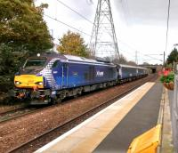 68 007 Valiant on the 'Sub' opposite Brunstane station on 30th October 2017. This is the first of two ECS workings to Motherwell, returning the stock from morning Fife locals. They will return in the afternoon to take the commuters back. This does seem an excessive distance for 8 daily workings, Monday to Friday. I am assuming the reason is economic; it certainly can't be environmental.<br> <br><br>[David Panton&nbsp;30/10/2017]