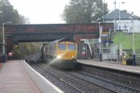 GBRf 66740 <I>Sarah</I> at Maryhill heading for the West Highland line with the North Blyth to Fort William alumina train on 31st October 2017. <br> <br><br>[Alastair McLellan&nbsp;31/10/2017]