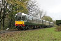 Looking rather like it has been posed for one of those 1950s <I>new train</I> publicity photos the BRCW Class 110 <I>Calder Valley</I> 3-car set slows for the Summerseat stop running towards Bury during the ELR railcar gala on 4th November 2017. <br><br>[Mark Bartlett&nbsp;04/11/2017]