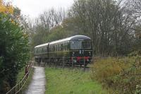 The newly restored Cravens DMU slows for the Summerseat stop on 4th November 2017. It is sobering to think that from over 400 Cravens DMU vehicles built only one power car and two driving trailers have survived. <br><br>[Mark Bartlett&nbsp;04/11/2017]